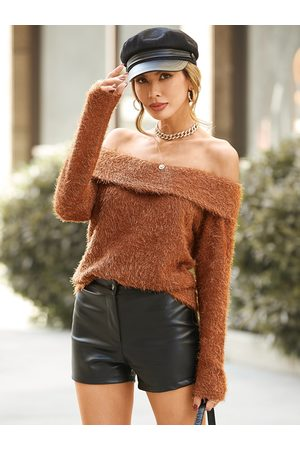 YOINS Fluffy Knit Off The Shoulder Long Sleeves Sweater