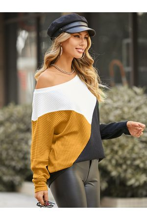 YOINS Patchwork Round Neck Long Sleeves Waffle Knit Top