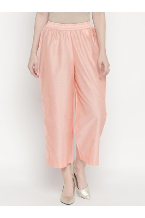 Pantaloons Women Peach Regular Fit Solid Parallel Trousers