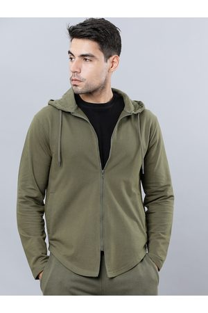 Highlander Men Sweatshirts - Men Olive Green Solid Hooded Sweatshirt