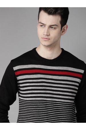 Roadster Men Jumpers - Men Black & Grey Melange Striped Acrylic Pullover