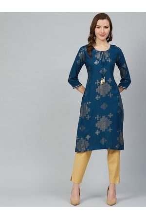Rangriti Women Kurtas - Women Navy Blue & Golden Printed Straight Kurta