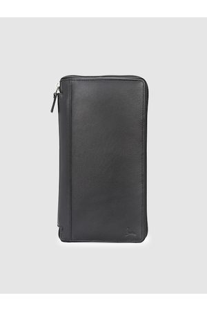 Pacific Men Black Solid Leather Passport Holder