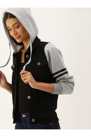 Campus Women Denim Jackets - Women Black Solid Windcheater Denim Jacket