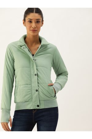 Campus Women Green Solid Windcheater Padded Jacket