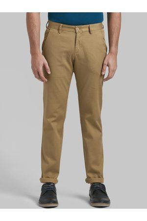 Parx Men Khaki Tapered Fit Solid Chinos