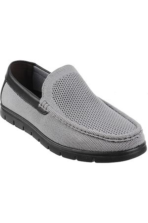 Metro Men Grey Perforated Loafers