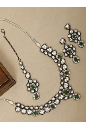 Priyaasi Gun Metal-Toned Silver-Plated Handcrafted Stone-Studded Jewellery Set