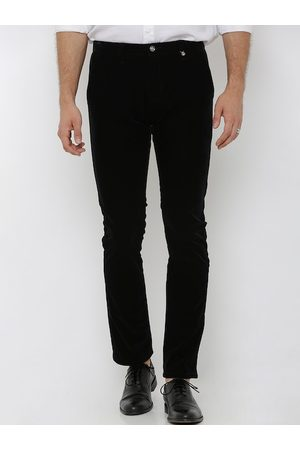 Rex Straut Men Black Slim Fit Solid Regular Trousers