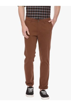 Basics Men Brown Tapered Fit Solid Chinos