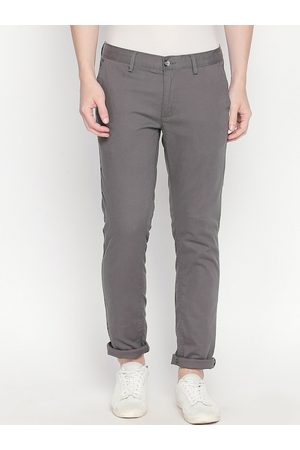 Basics Men Grey Tapered Fit Solid Chinos