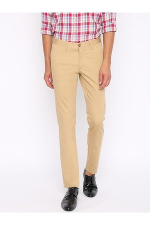 Basics Men Khaki Brown Tapered Fit Solid Chinos