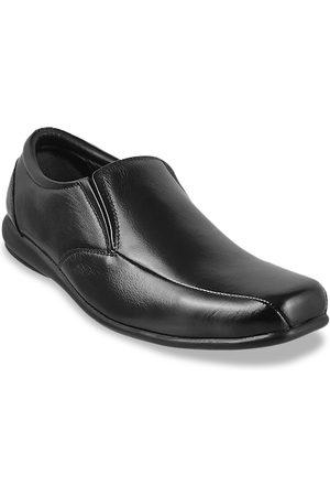 Metro Men Black Solid Leather Slip-On Shoes