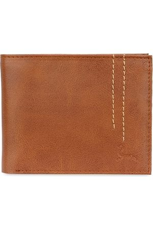 Pacific Men Tan Brown Textured Two Fold Faux Leather Wallet