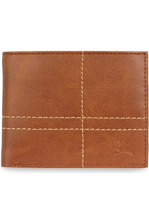 Pacific Men Tan Solid Two Fold Leather Wallet