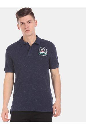 ED HARDY Men Navy Blue Self Design Polo Collar T-shirt