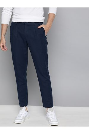 Mast & Harbour Men Navy Blue Slim Fit Solid Regular Pleated Linen Trousers