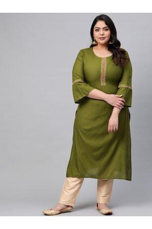 Yash Gallery Plus Size Women Olive Green Solid Straight Kurta