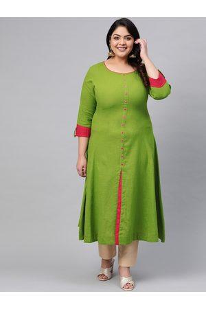 Yash Gallery Plus Size Women Green Solid A-Line Kurta