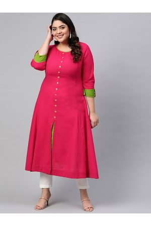 Yash Gallery Women Plus Size Pink Solid A-Line Kurta with Front Slit & Mirror Work Detail