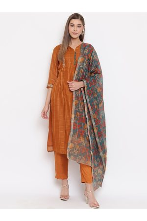 Janasya Women Rust Brown Striped Kurta with Trousers & Dupatta