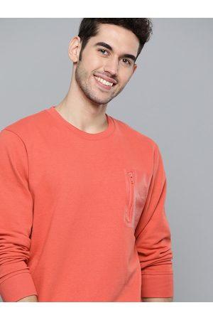 Mast & Harbour Men Sweatshirts - Men Coral Red Solid Sweatshirt