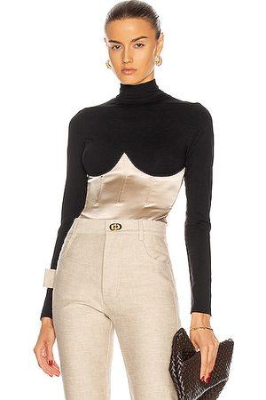 fleur du mal Mock Neck Long Sleeve Bodysuit in & Bone