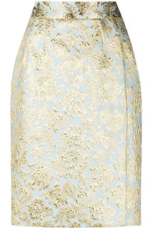 Dolce & Gabbana Women Printed Skirts - Fleur-de-lis pattern pencil skirt