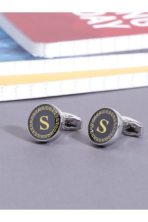 Yellow Chimes Jewellery Black & Gold-Toned Round Cufflinks