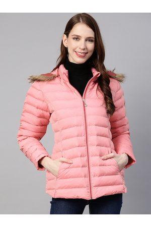Fort Collins Women Pink Solid Hooded Parka Jacket