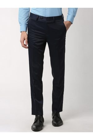 Peter England Elite Men Navy Blue Slim Fit Solid Formal Trousers