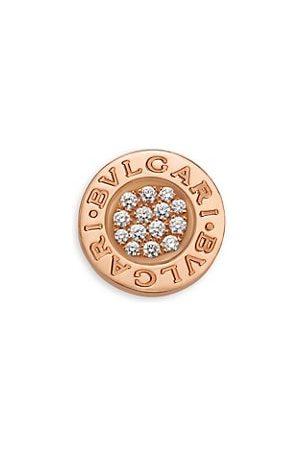 Bvlgari Earrings - Classic 18K Rose & Diamond Single Round Stud Earring