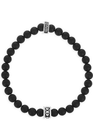 King Baby Studio Onyx Story Onyx & Stainless Steel Beaded Bracelet With Micro Stackable Skull Ring