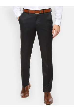 V Dot Men Black Skinny Fit Solid Formal Trousers