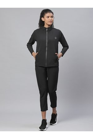 CHKOKKO Women Black Solid Gym Tracksuit