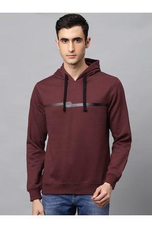 Park Avenue Men Maroon Slim Fit Solid Hooded Sweatshirt