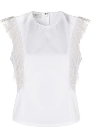 Giambattista Valli Lace-detail popline sleeveless blouse