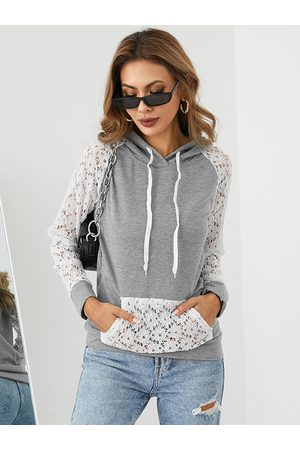 YOINS Patchwork Hollow Design Side Pockets Long Sleeves Hoodie