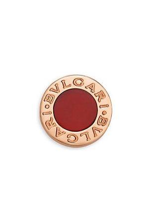 Bvlgari Earrings - Classic 18K Rose & Carnelian Single Round Stud Earring