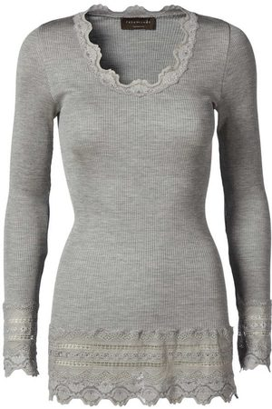 Rosemunde Benita Wide Lace Long-sleeved Top - Light Grey Melange