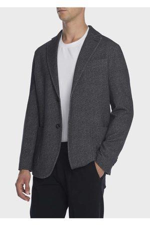 Circolo Men Fleece Jackets - Mens CN2042 Fleece Cashmere Touch Grey Jacket