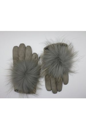 Maison Fabre Leather gloves with fur PomPom - Grey