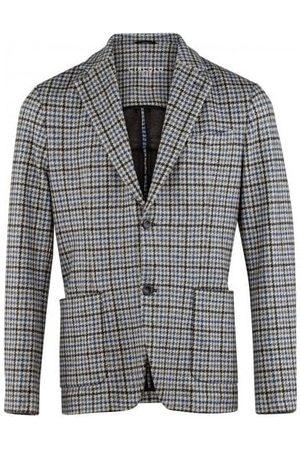Circolo Mens CN2384 Fleece Dogtooth Print Jacket in Grey