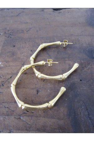 Women Earrings - Bamboo Hoops - plated