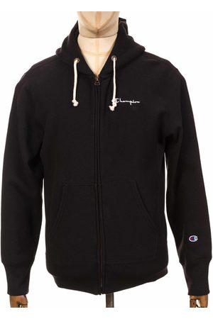 Champion Reverse Weave Script Logo Zip Hooded Sweatshirt - NBK Black