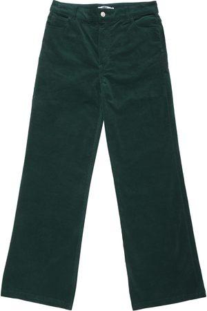 New Man Velvet Stretch Flared Jean Trousers - Green