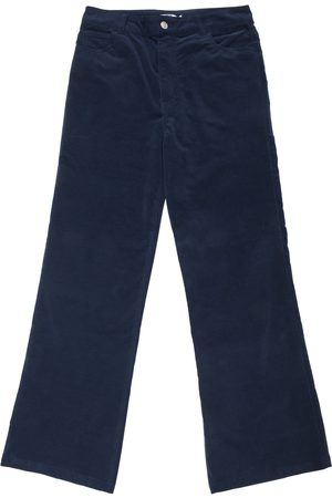 New Man Women Stretch Trousers - Velvet Stretch Flared Jean Trousers - Navy
