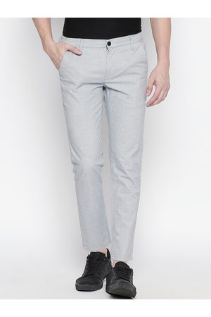 Mufti Men Grey & Blue Slim Fit Self Design Regular Trousers