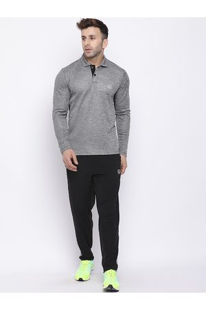 CHKOKKO Men Grey & Black Solid Tracksuit
