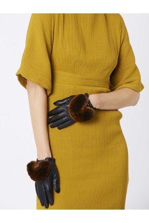Jayley Women Gloves - GLVH8A Leather PomPom Fur Trim Various Colours